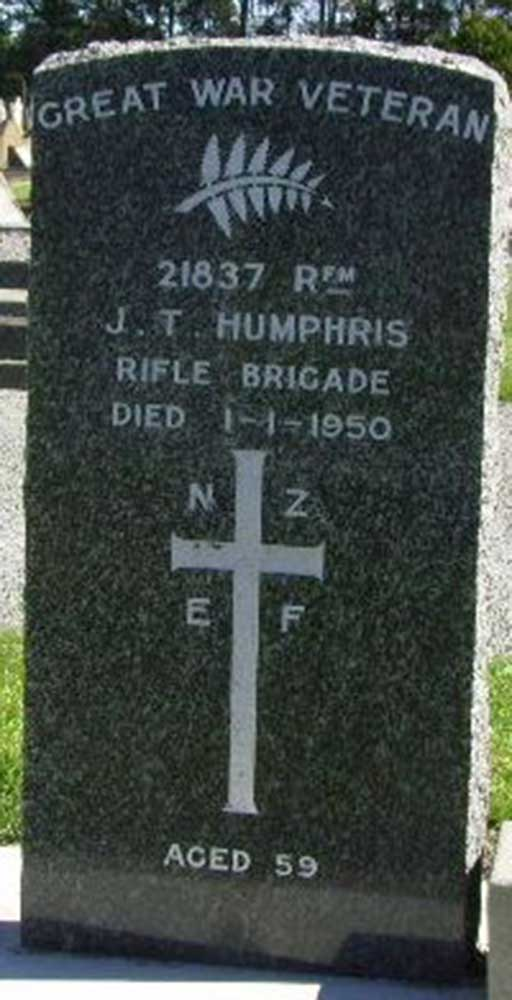 Headstone, John Thomas (Tommy) Humphris