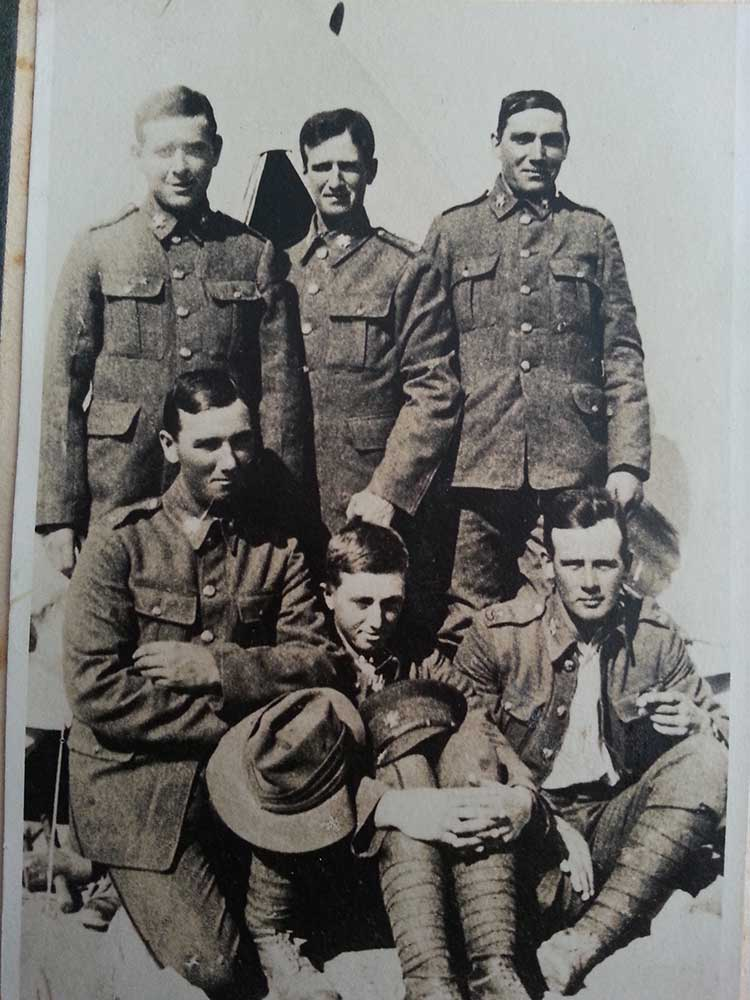 Hector Saunderson (centre rear), with some of his Canterbury Battalion mates, circa 1915