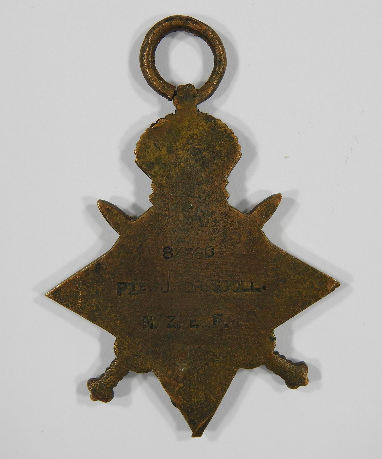 Verso, 1914-1915 Star, awarded to James Driscoll