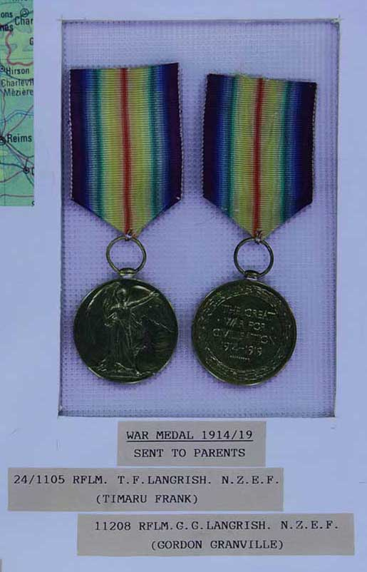 Victory Medals awarded to TF & GG Langrish