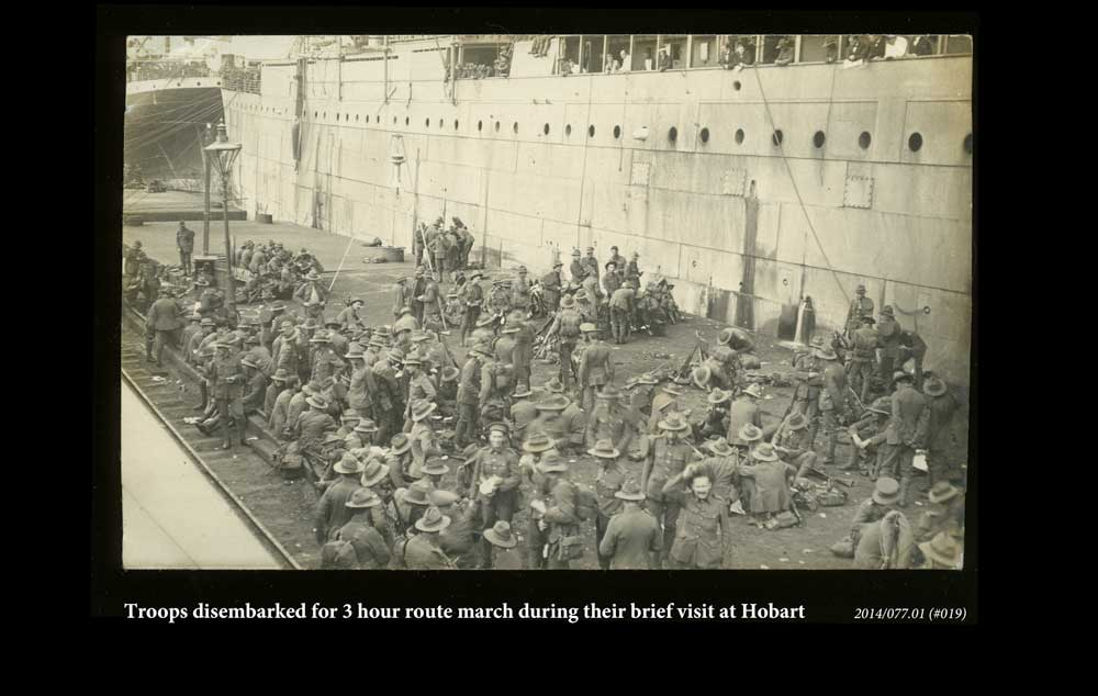 Troops disembarked during their brief stop at Hobart