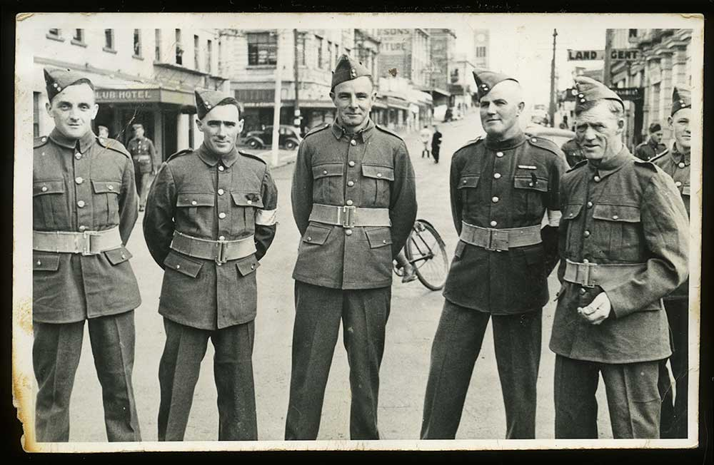 Alister Ross (fourth from left) with other Home Guard soldiers, 1941