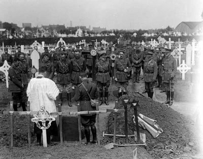 Officers at the funeral of Brigadier-General Francis Johnston, 12 August 1917