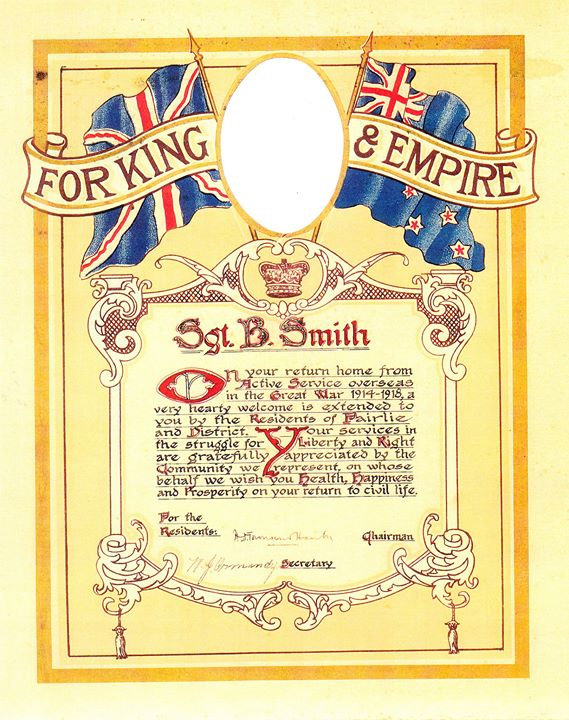 Thomas Bruce Smith - Commemorative certificate presented by Fairlie & Districts
