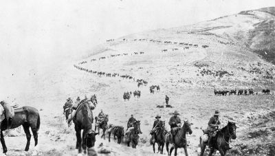 Mounted Riflemen on the march towards the Jordan River, Palestine, circa 1918
