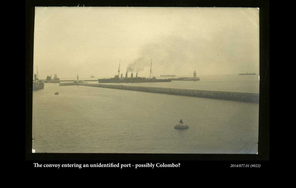 The convoy entering an unidentified port - possibly Colombo?
