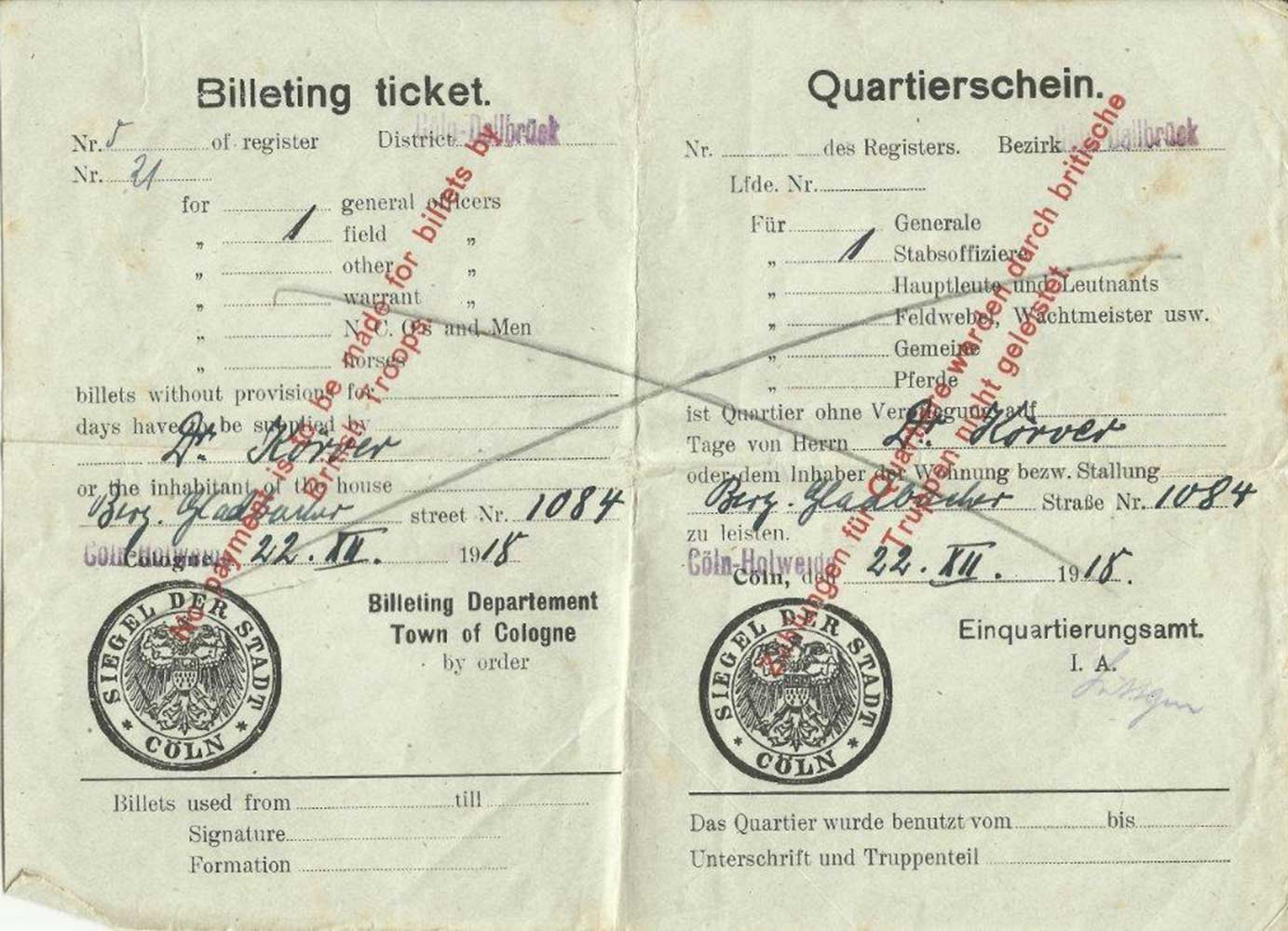 Billeting no 21, 1918