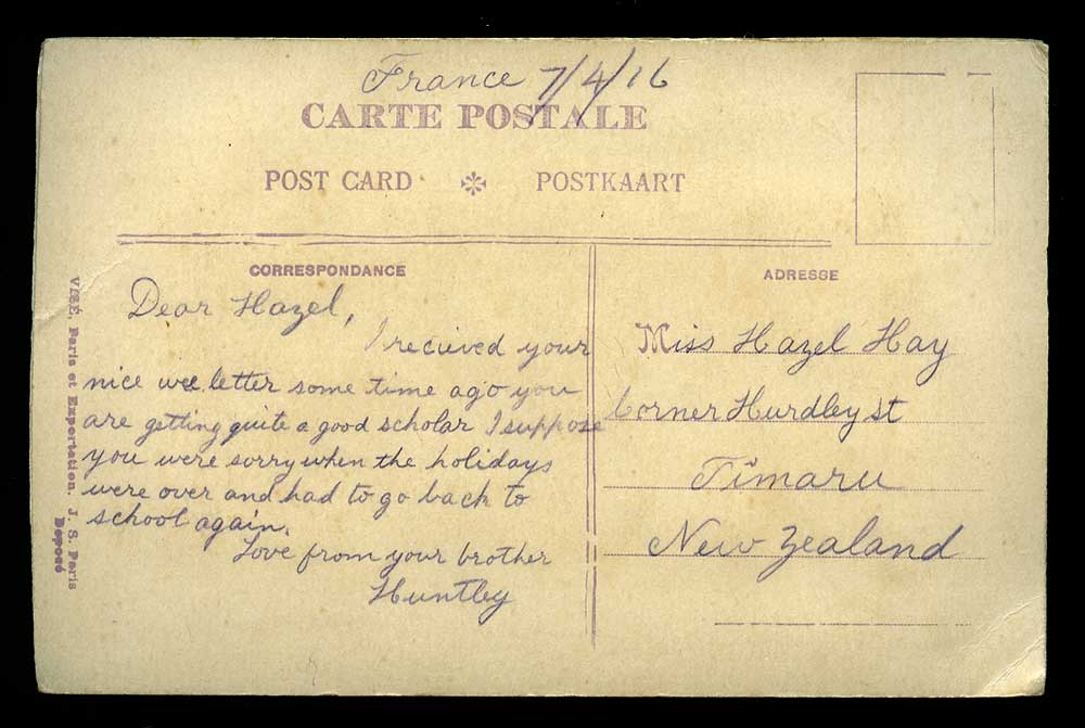 Postcard, George Huntley Hay to his sister, Hazel, 1916