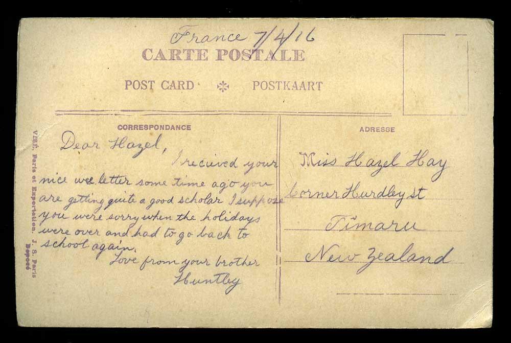 Postcard, George Huntley Hay to his sister, Hazel, 1916