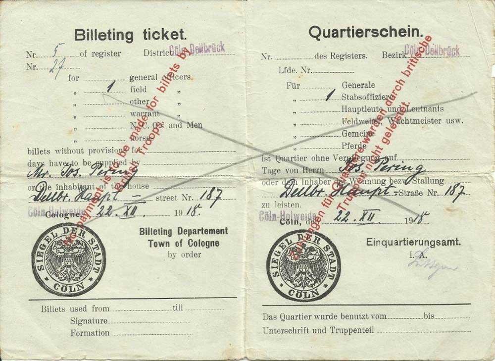 Billeting ticket no 27, 1918