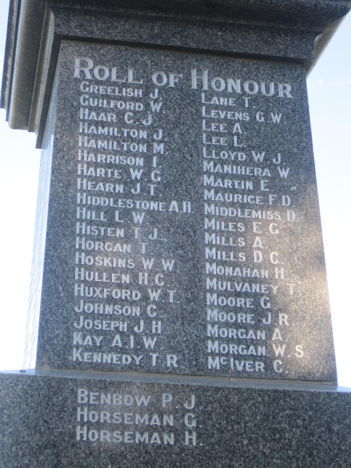 Temuka War Memorial plaque, names G-M, pictured in 2007