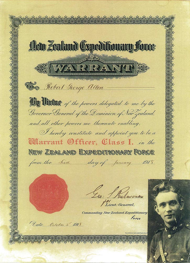 Warrant Officer certificate, Robert George Allen, 1918
