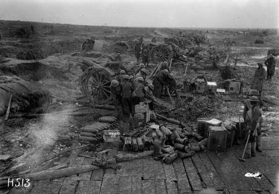 New Zealand howitzers in action, 13 April 1918