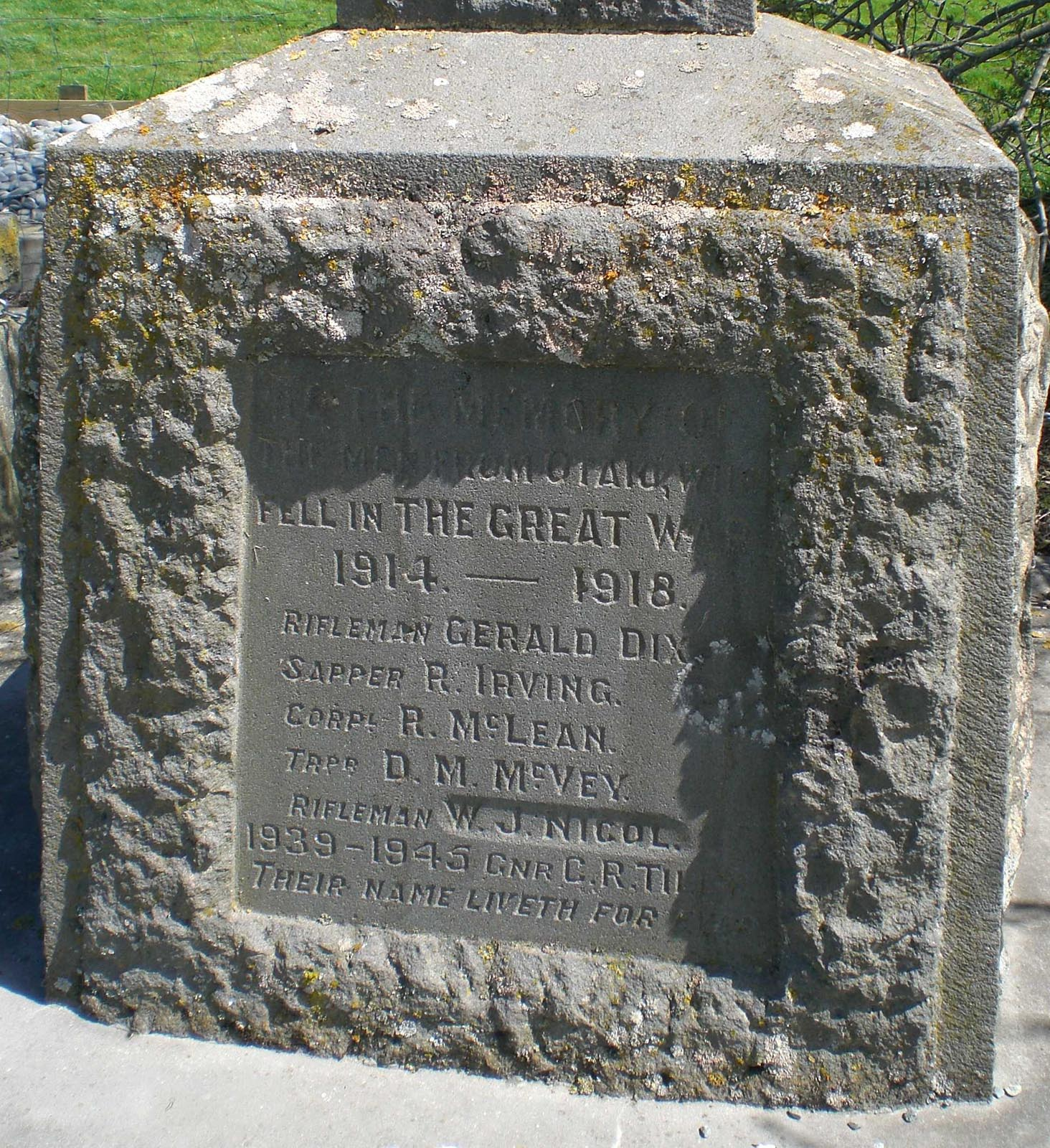 Otaio War Memorial name plaque, pictured in 2010