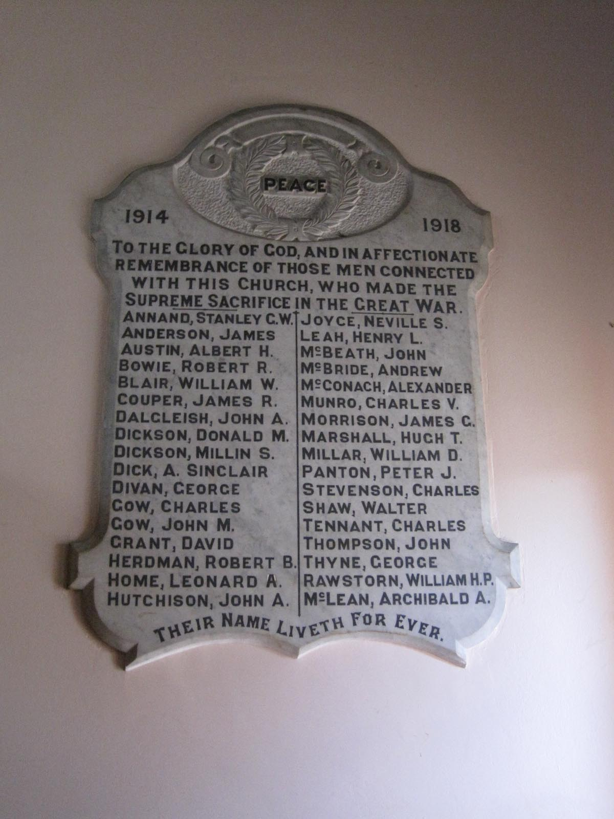 Chalmers Church memorial plaque, photographed in 2010