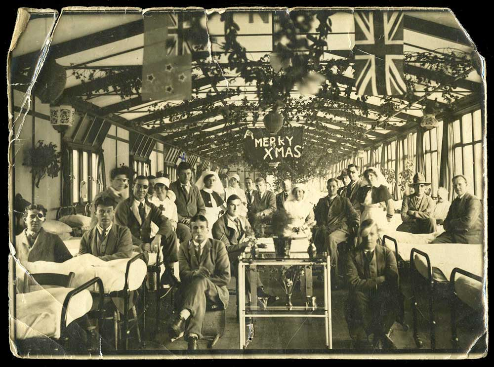 Kenneth Davison and others, pictured celebrating Xmas in hospital, circa 1918