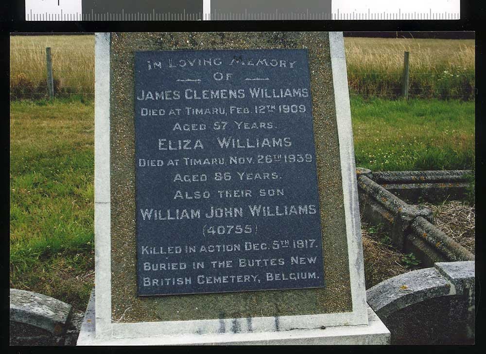 The Williams family headstone, Otaio