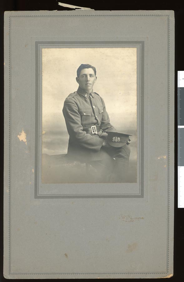 A formal portrait of Bernard (Barney) McKee of Waimate, probably taken prior to departure for service in 1917.