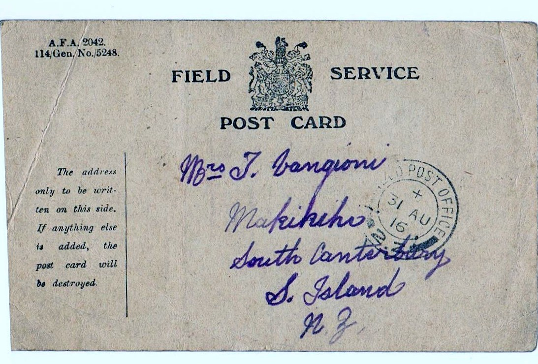 Service postcard front  from Arthur Narbey (France) to his sister Sera Vangioni (Makikihi), circa 1917