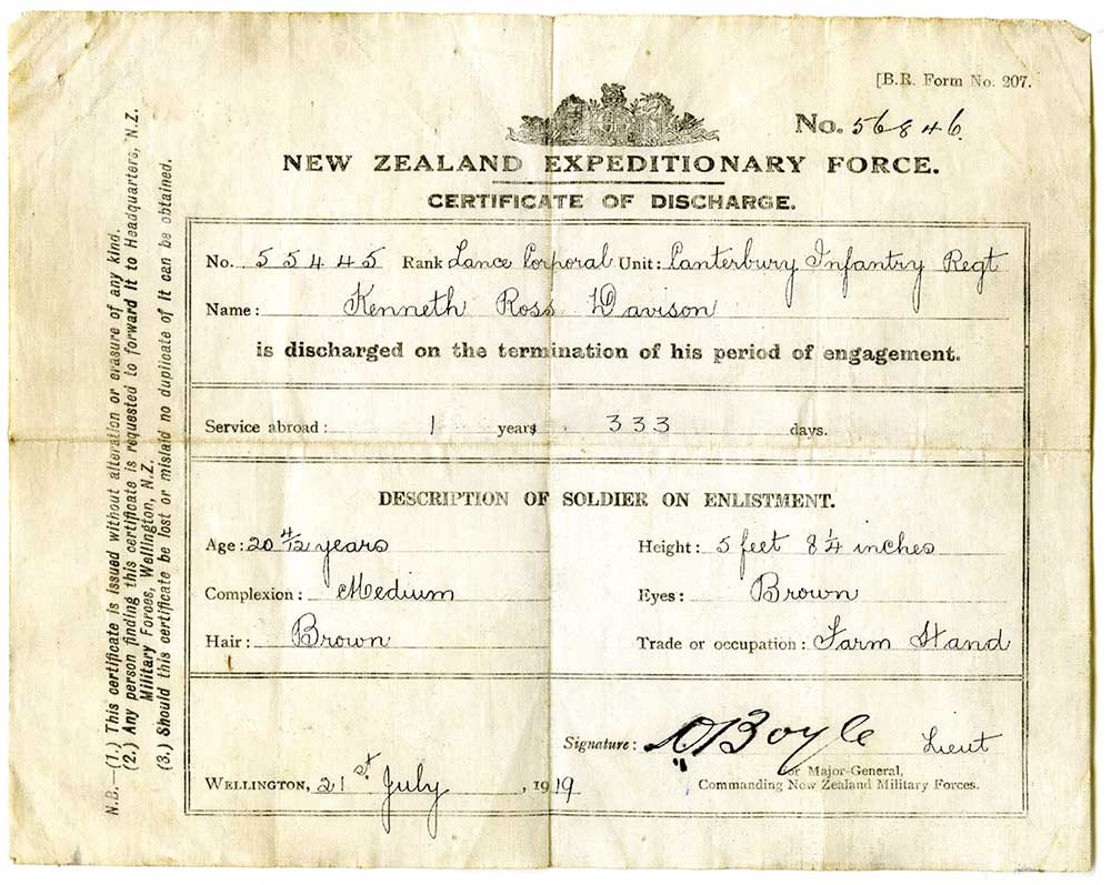 Military discharge certificate for Kenneth Davison, 1919
