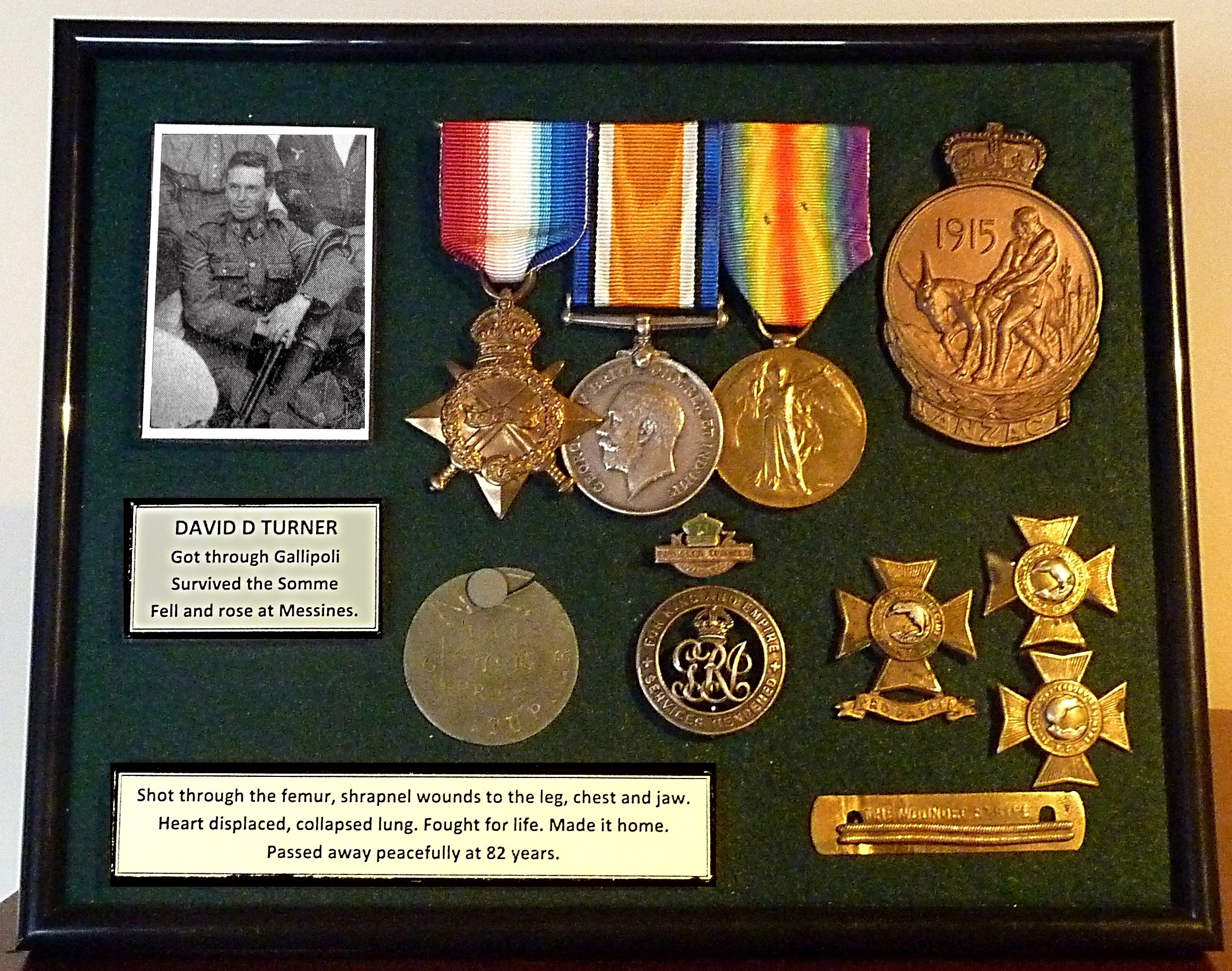 David Turner's mounted medals and badges