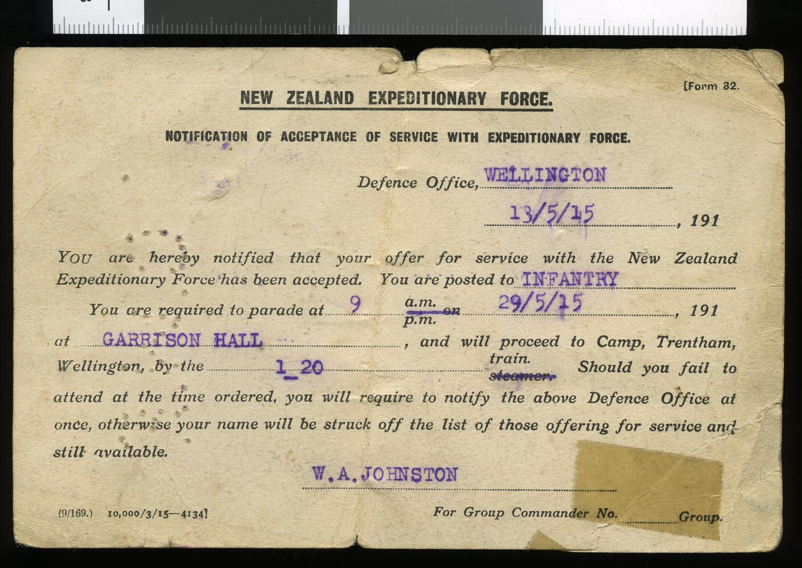 Notification of service, NZEF