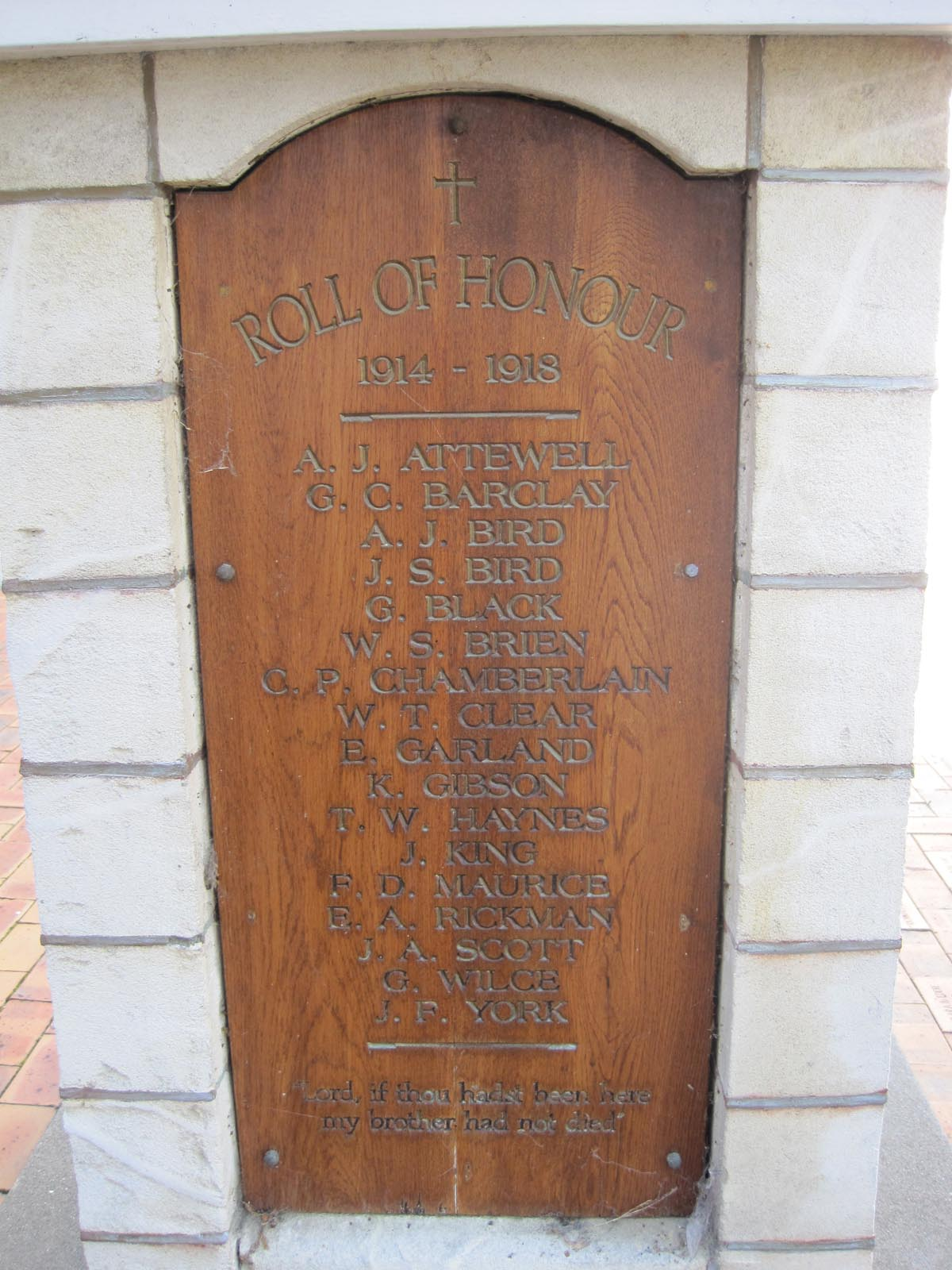 Plaque, St Augustine Church War Memorial, pictured in 2011