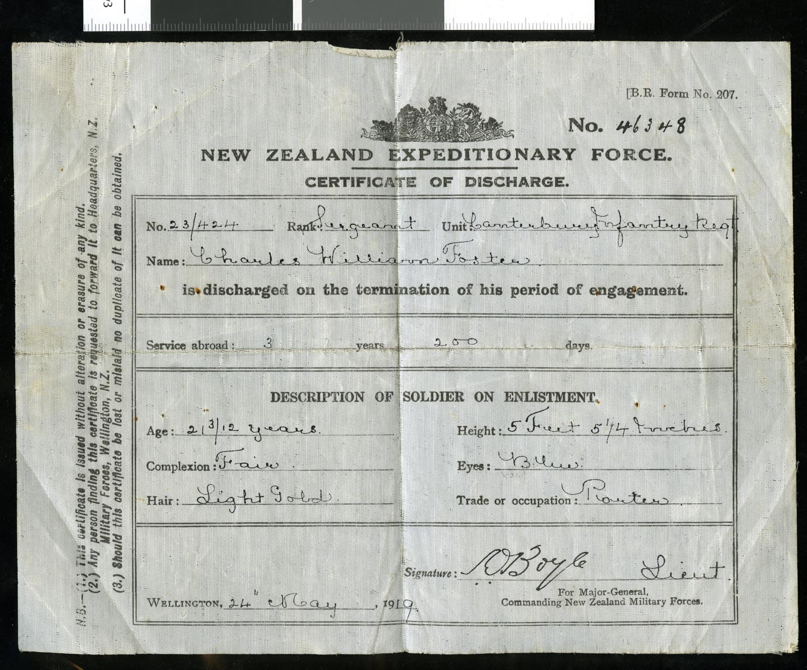 Discharge certificate for Sergeant Charles William Foster, 1919