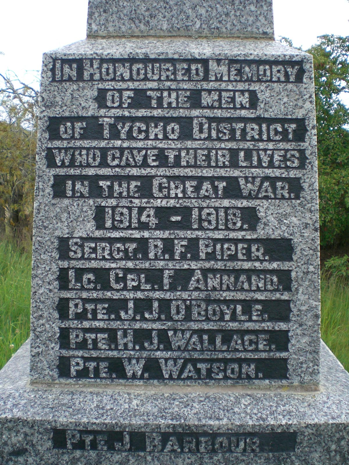 Taiko War Memorial, World War One plaque, photographed in 2007