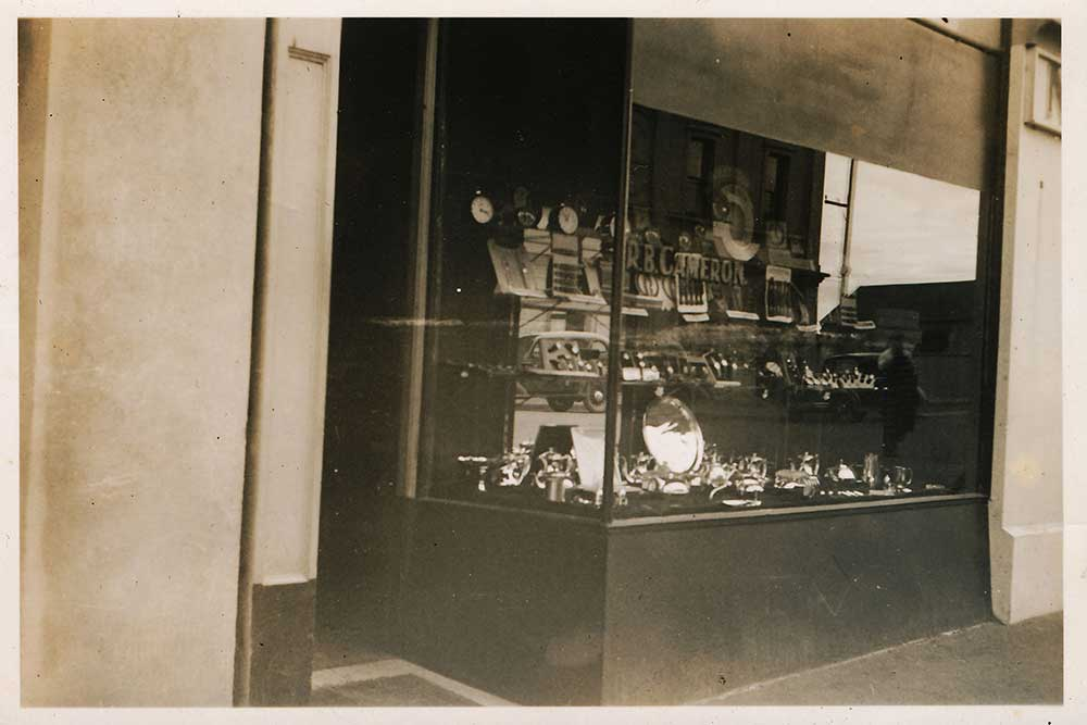 Robert Brown Cameron's Watchmaking and Jewellery business in High Street, Waimate.