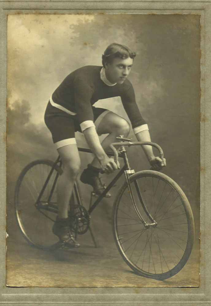 Frank Averis, posed on a bike prior to the war