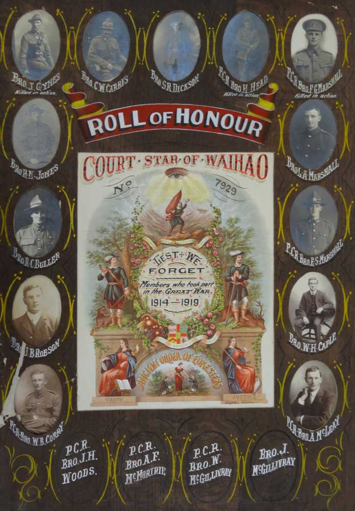 Court Star of Waihao No. 7929 Roll of Honour WWI