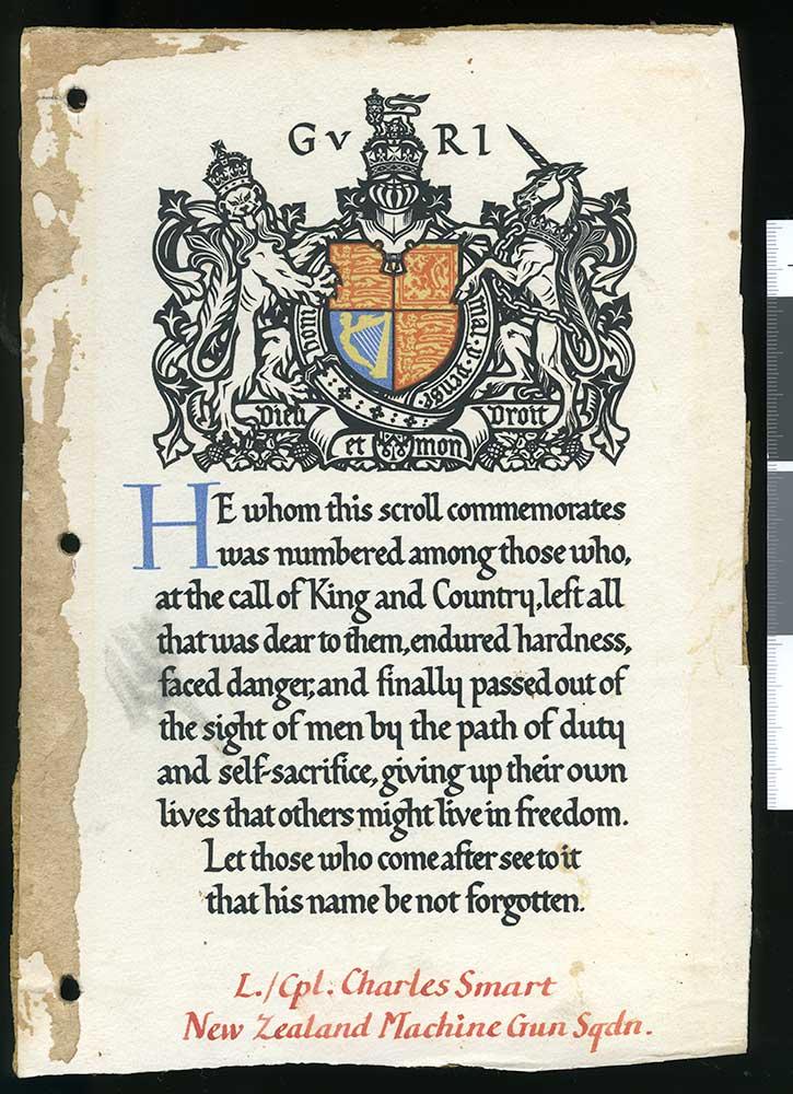 Commemorative certificate, Charles Smart