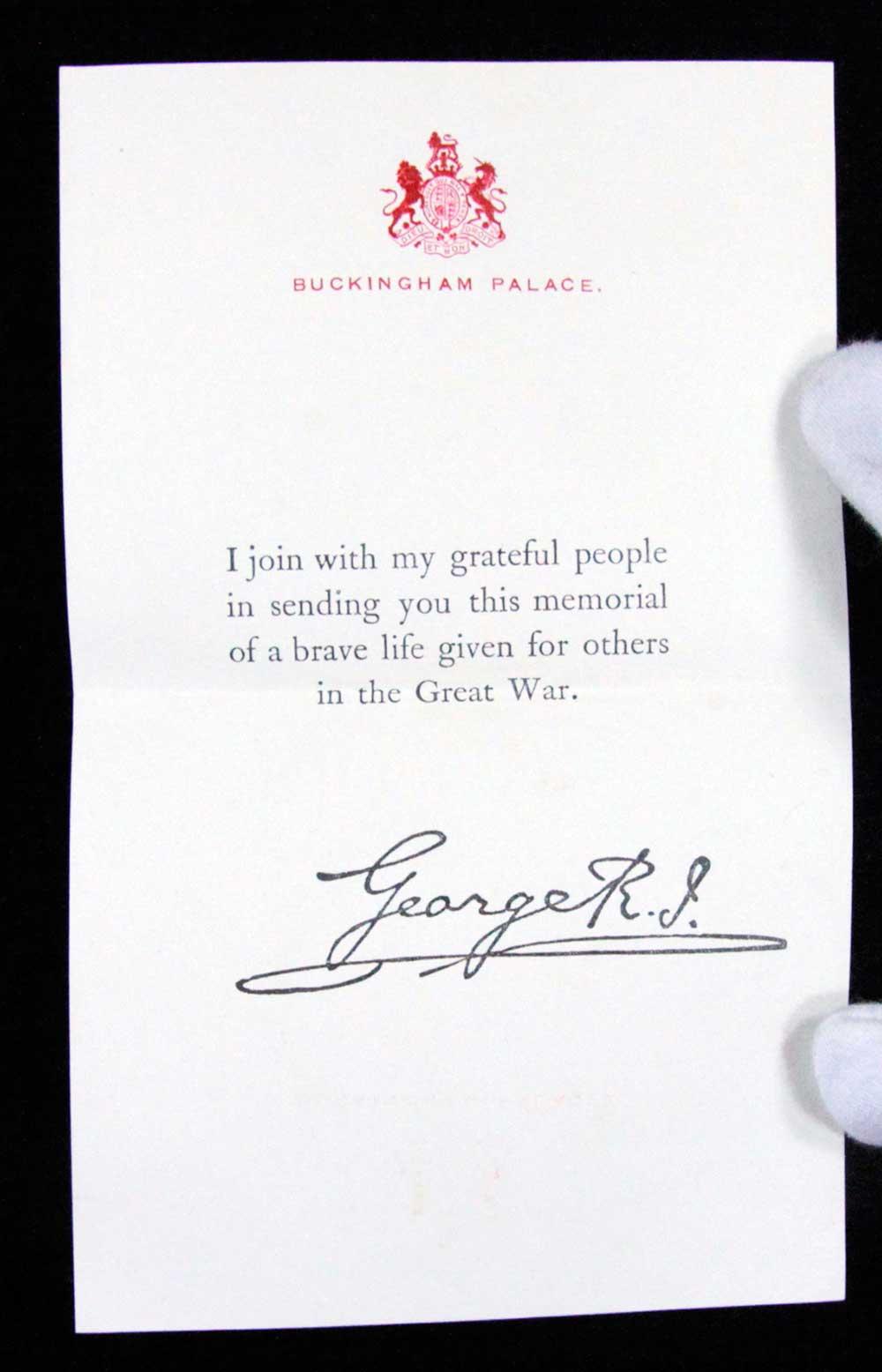 King's letter accompanying Memorial plaque, Ernest Murphy