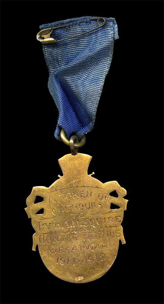 Commemorative medal, Albert Squire (verso engraving)