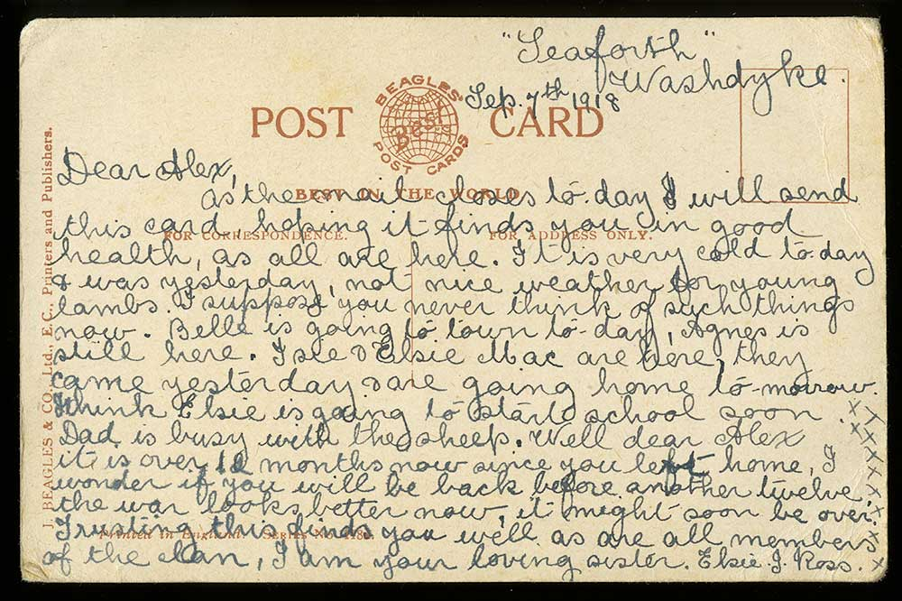 Postcard: 'In honours Cause may God bless and keep you' (verso)