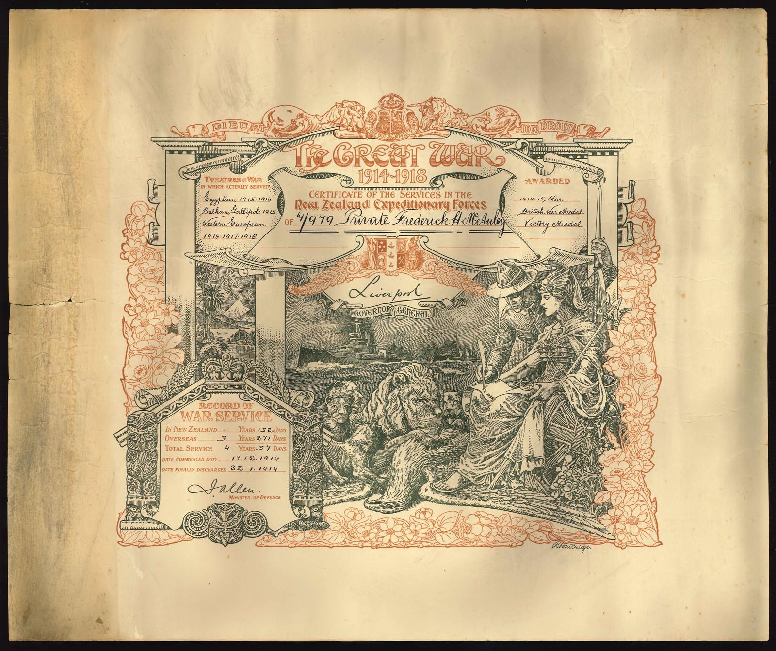 WWI Service certificate: Private F H McAuley