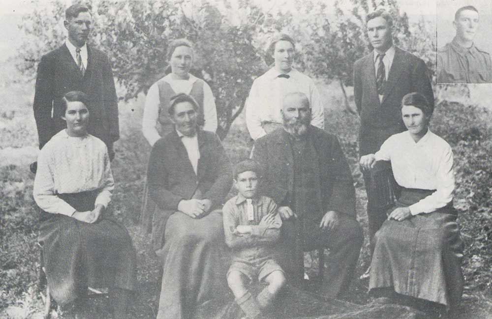 Henry Adamson (inset) and family