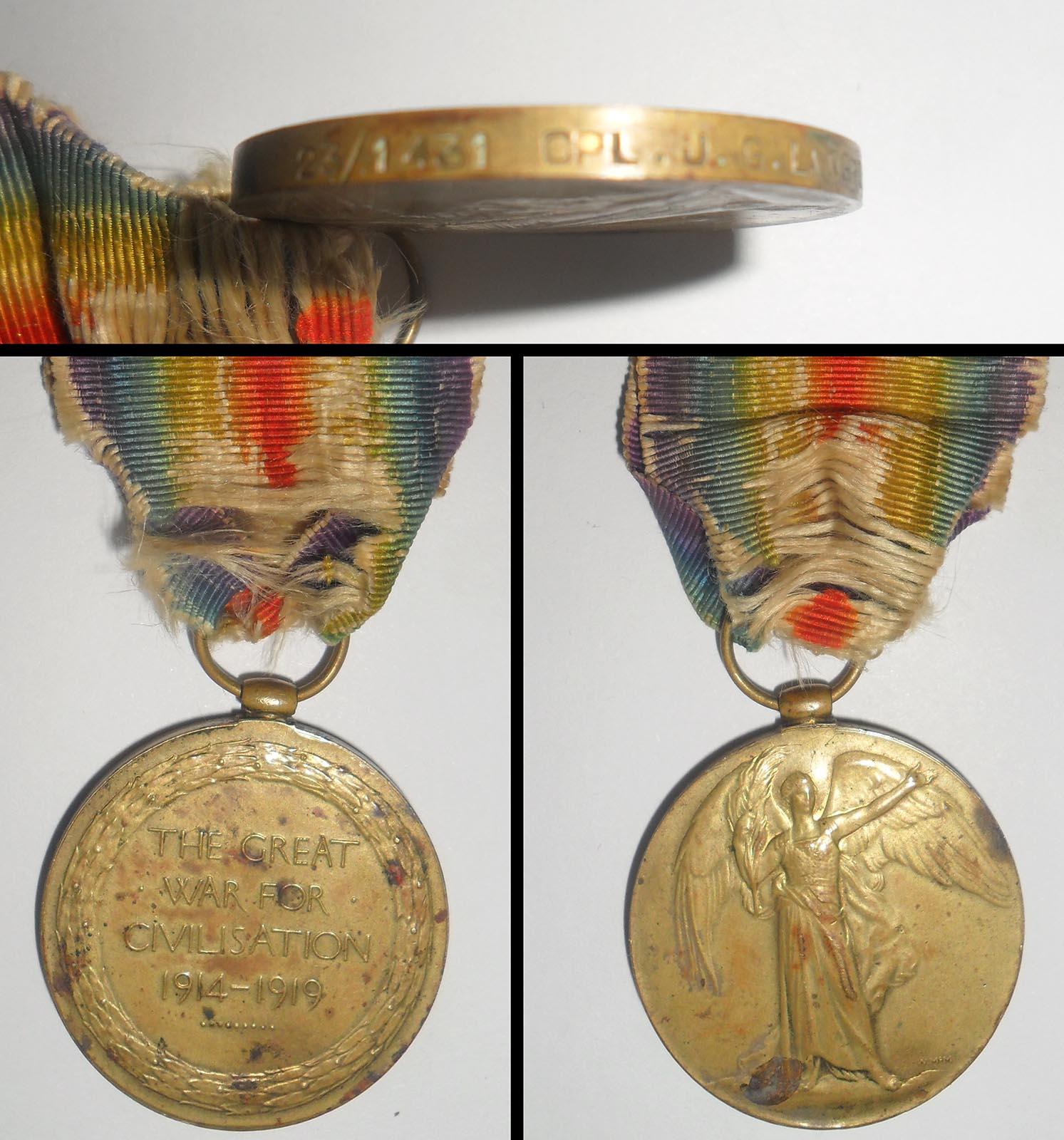 Victory Medal - Cpl JG Langrish