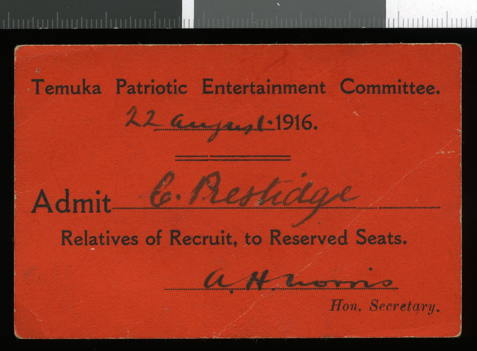 Temuka Patriotic Entertainment Committee ticket, dated 22 August 1916