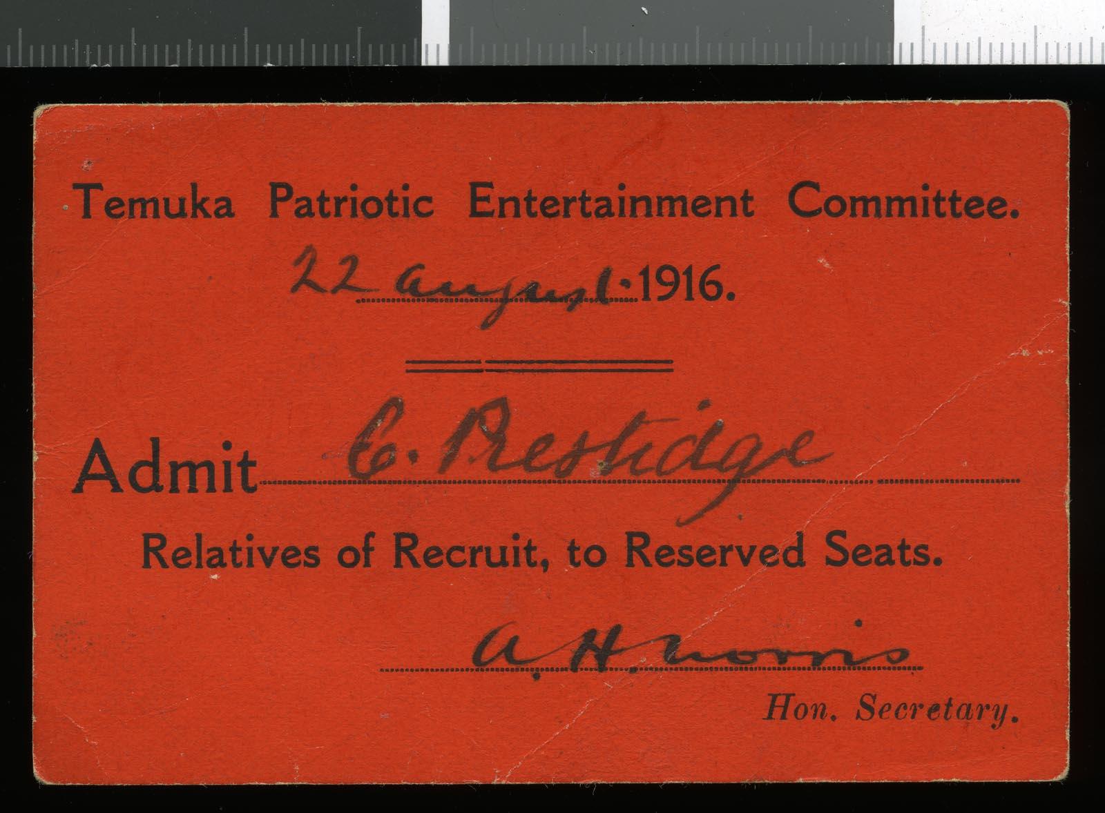 Temuka Patriotic Entertainment Committee ticket, dated 22 August 1916